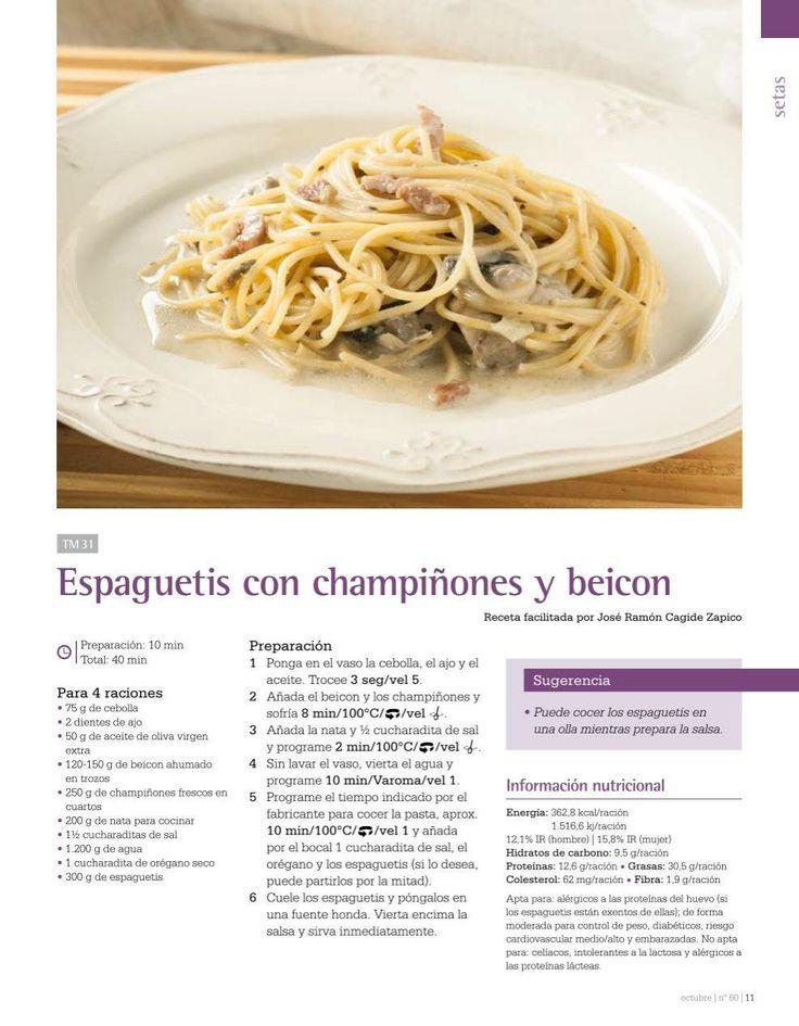 Espaguetis con champiñones y beicon