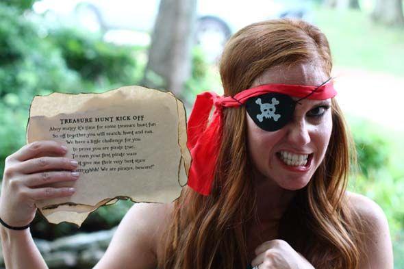 pirate treasure hunt at pirate party - cute burned clues