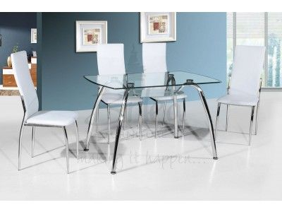 Birlea Hampton Glass Dining Table And 4 White Faux Leather Dining Chairs Set