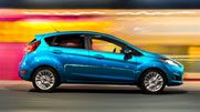 The 2014 Fiesta Titanium Hatch shown in Blue Candy.
