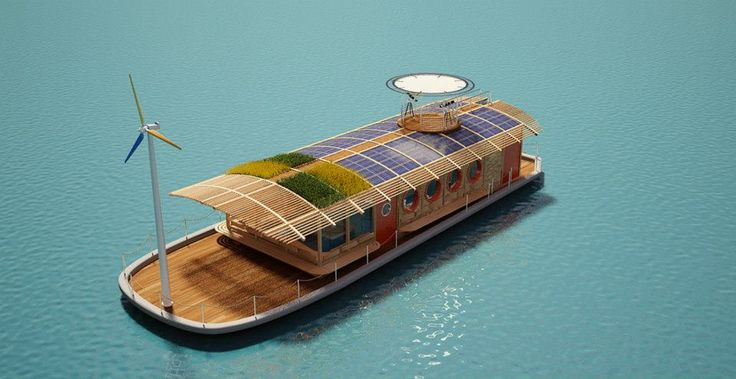 HEPCA's Green-Roofed Bio Boat Entirely Wind and Solar Powered - not exactly roughing it, right? :)