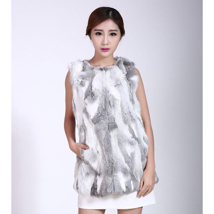 Real Angora Fur Hoodie vest Ms.Rabbit fur coats women Natural rabbit fur coat   Rabbit fur coat women winter genuine rex rabbit