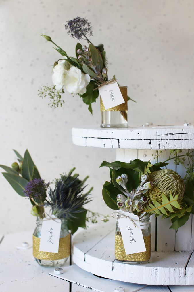 DIY Floral Favours with gold glitter tape.