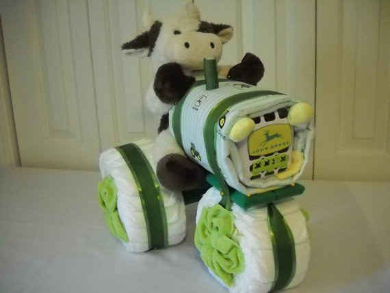 John Deere Tractor. Diaper Cake Ideas That Are Borderline Genius