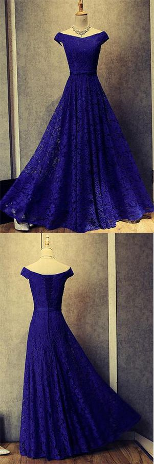 Royal Blue A Line Off Shoulder Lace Long Prom Dresses Evening Dresses.