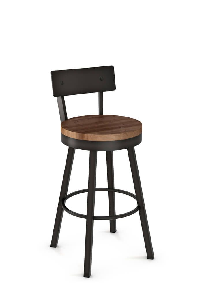"""360 swivel!  Customize Amisco's Lauren Swivel Stool at Barstool Comforts. Best prices online, free design advice, no tax, and FREE shipping!  34"""" Spectator Height  Overall Width 18¾"""" Overall Depth 19½"""" Back to Floor 43⅝"""" Top of Seat to Floor 33¼"""" Weight 38 lb."""