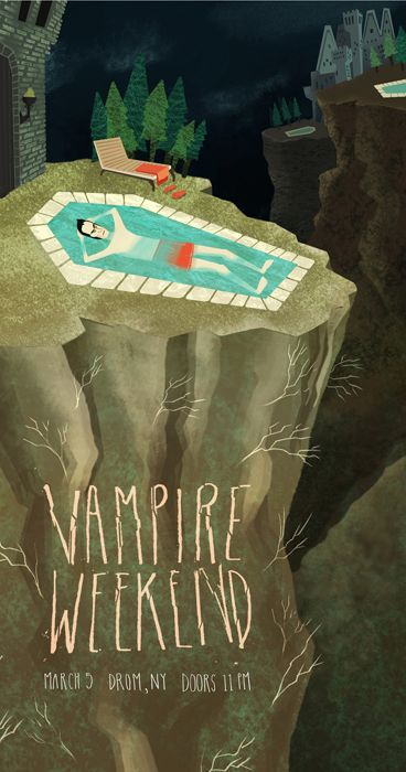 Vampire Weekend gig poster by Ivy Tai