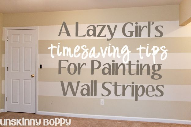 Tips for painting stripes: have an odd number of horizontal stripes on your wall. To decide the width of your stripes, measure the total height of the wall from the ceiling to the base molding and divide by seven. If you want thicker stripes, divide by five. If you want skinny stripes divide by nine or more.