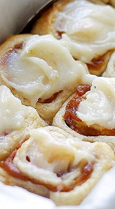 Pumpkin Pie Cinnamon Rolls - Cinnamon Rolls in 30 minutes made with refrigerated dough, a delicious pumpkin pie filling, and an incredible pumpkin pie spice cream cheese frosting!