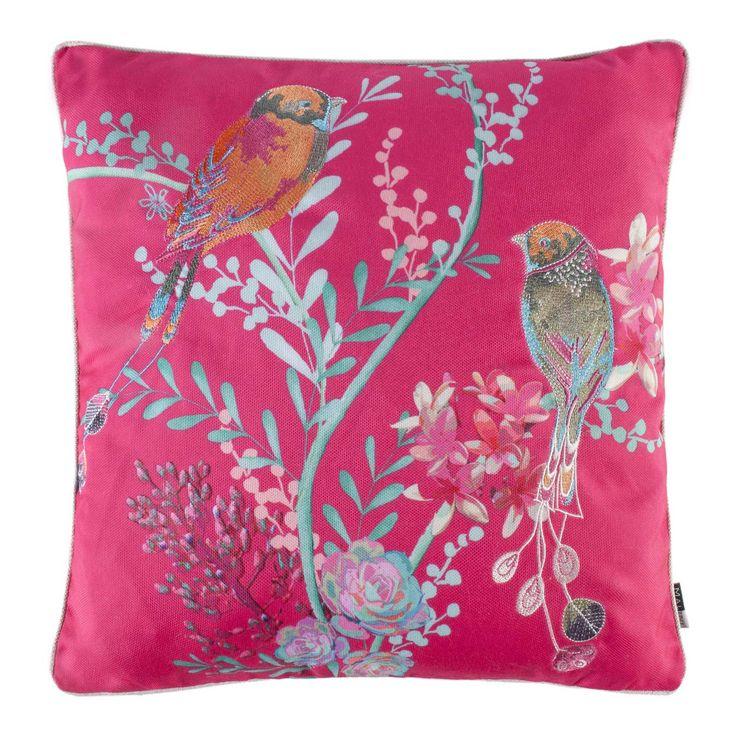 Malini Oriel Print on Canvas Embroidered Feather Filled Cushion - Pink / Fushia / Cerise