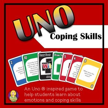 Coping Skills Uno is an Uno  inspired game that your students will love playing!  As students play, they are asked to answer questions that will test their coping skills and will help you to facilitate discussion regarding how to handle different situations and emotional regulation.