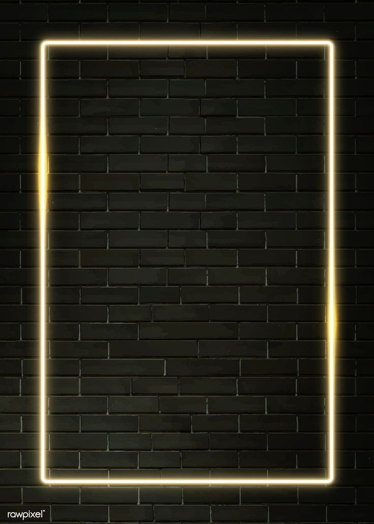 Rectangle yellow neon frame on a black brick wall vector   premium image by rawpixel.com / manotang