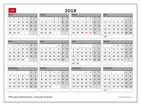 Calendario para imprimir  2018 - Días festivos en la Comunidad de Madrid
