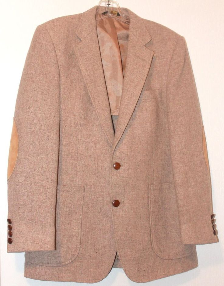 Vtg Imperial By Haggar Mens Dress Jacket Pure Wool Beige Size 38 Elbow Pads #ImperialbyHaggar #TwoButton