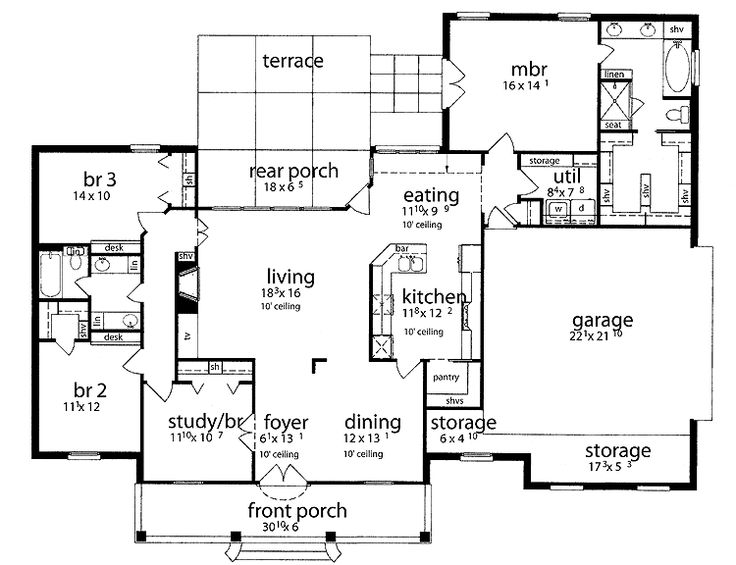 Residential House Plans 4 Bedrooms Slab House Floor Plans