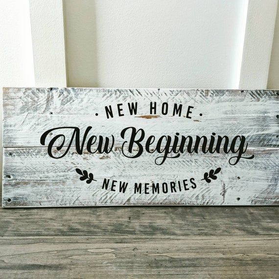 New Home New Beginnings New Memories Solid Wood Sign Or Tray Etsy In 2021 Realtor Gifts Wood Pallets New Home Gifts