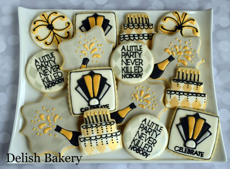 Great Gatsby party themed cookies.