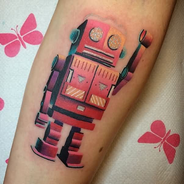 Abstract Robot Tattoo On Sleeve By Giena Todryk