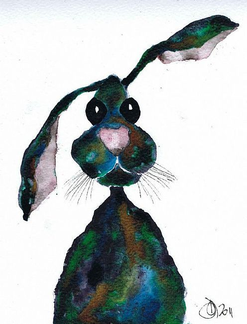 Art 'MULTI COLOUR HARE h1750' - by Dawn Barker from