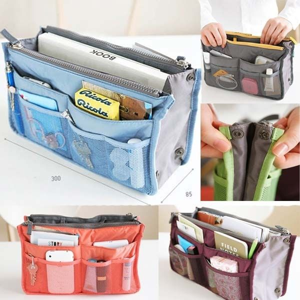 Travel Bag Insert   29 Ideal Travel Bags For Your Next Trip I keep seeing this and thinking that I can buy 2 cosmetic bags and make this!!