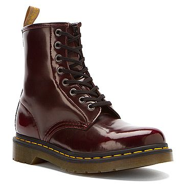 Dr Martens Vegan 1460 W 8-Eye Boot : Cherry Red Cambridge Brush found at #OnlineShoes