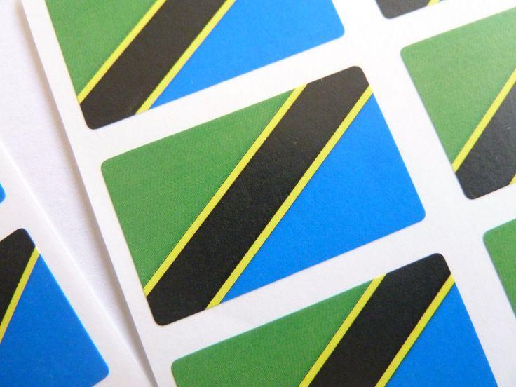 Mini Sticker Pack, Self-Adhesive Tanzania Flag Labels, Fr248