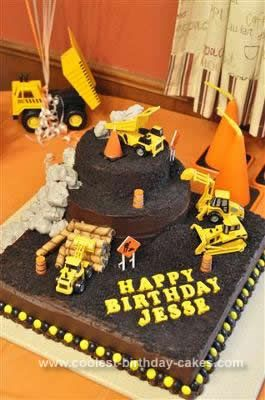 Homemade Construction Theme 1st Birthday Cake: We're building a house, so when my baby's first birthday rolled around - we were all about construction!  I started with a simple butter cake - 16 large