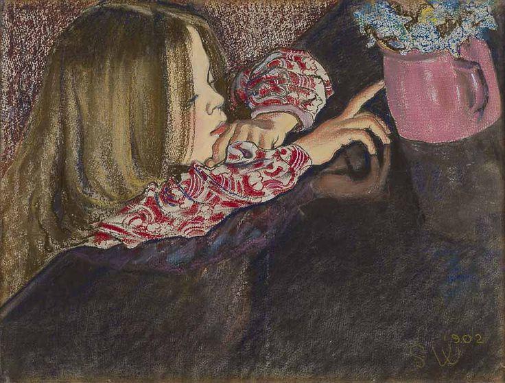 Stanisław Wyspiański, Dziewczynka z wazonem i kwiatami, 1902 r.
