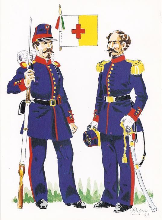 Regio Esercito - Battaglione del Basso Reno, Soldato e Ufficiale, 1858