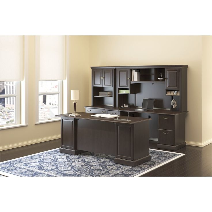 Syndicate Double Pedestal Office Desk with Hutch and Lateral File