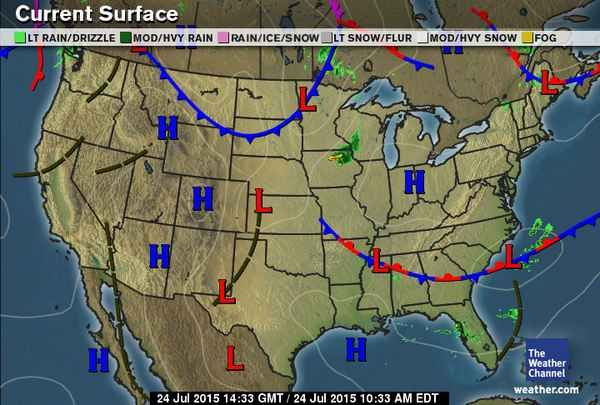US Current Surface Map