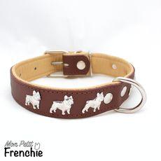 Collar BULLDOG FRANCÉS - Talla M/3cm - Marrón/Natural