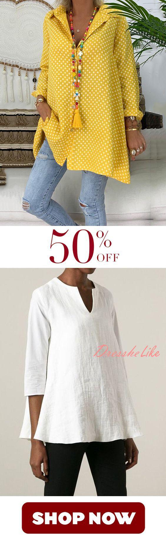 8000+ bought!!! Spring/Summer Polka Dot Cotton Printed Plus Size Shirt 1