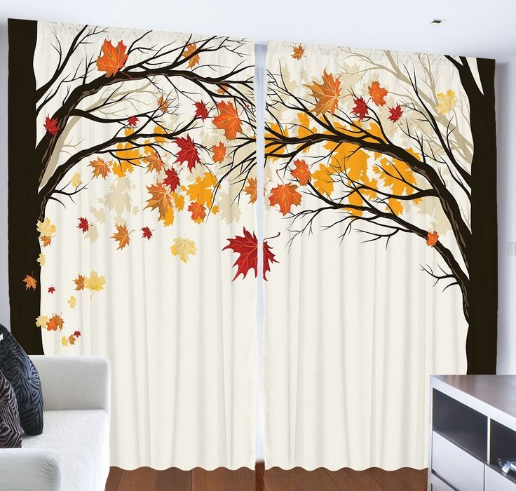 Decor Living Room Decorations Art Nature Fall Trees Falling Leaves Pictures Contemporary Artwork Modern Accent Curtains Two Panels Set 108 X 90 Inches
