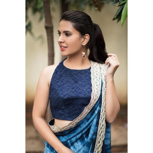 House Of Blouse Navy blue embroidered net racer back blouse