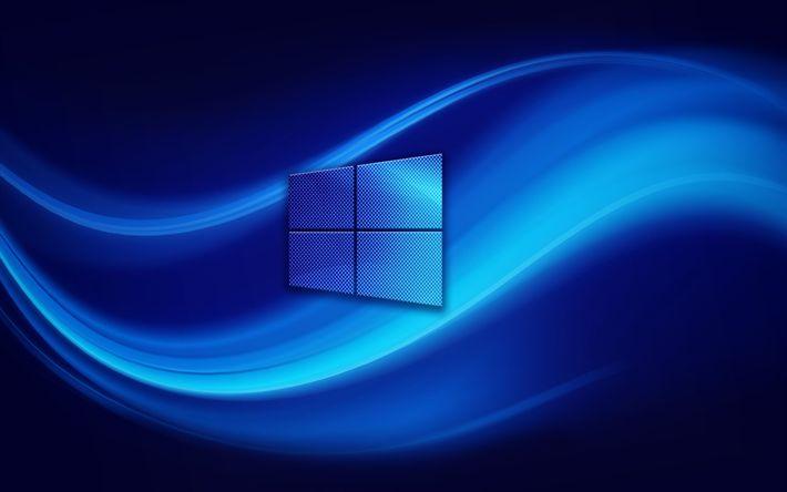 Herunterladen hintergrundbild 4k, windows 10, logo, abstrakt, wellen, blauer hintergrund, windows