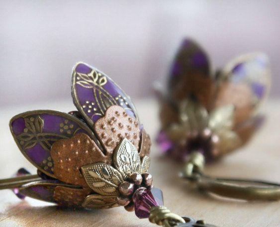 SALE Dangle Earrings Flower Earrings Purple Earrings by AmberSky