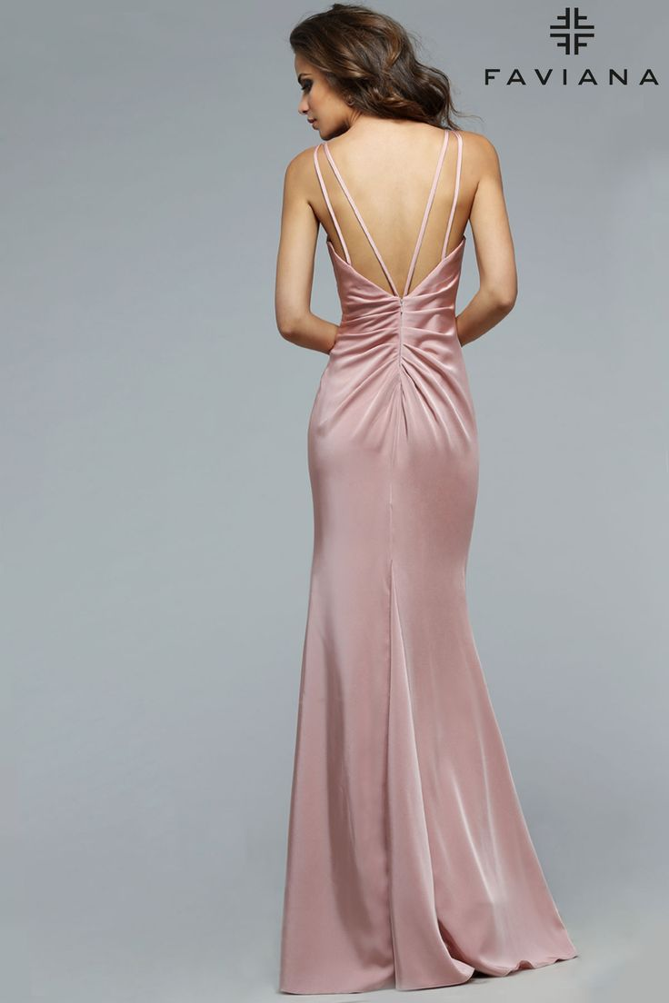 Faille satin v-neck with draped front & skirt #Faviana Style 7755