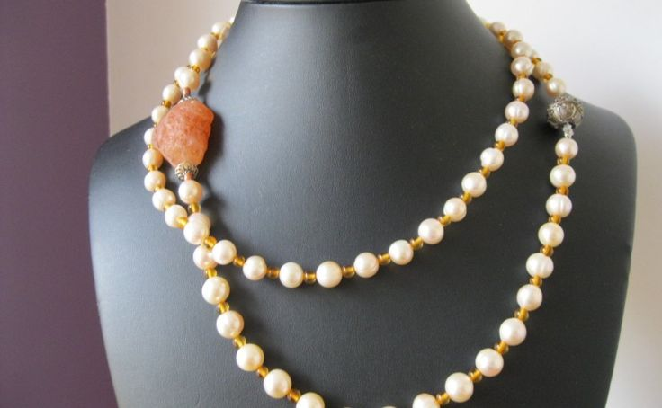 Pretty Pink Pearl and Amber Necklace with Carnelian