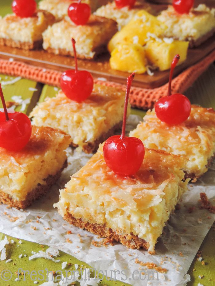 Piña Colada Bars: these tropical pineapple and coconut bars have just a hint of rum to satisfy your sweet tooth!
