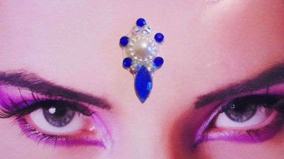 Tribal Bellydance Bindi with Blue and White by FeeoraFatale