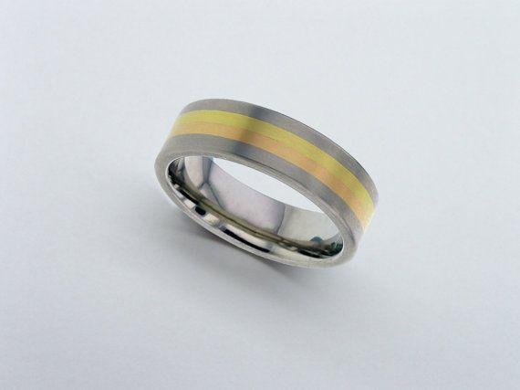 Yellow And Rose Gold Titanium Band Wedding 18 Carat Ring Mens Personalised