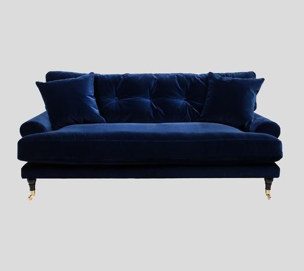 Deep blue velvet sofa