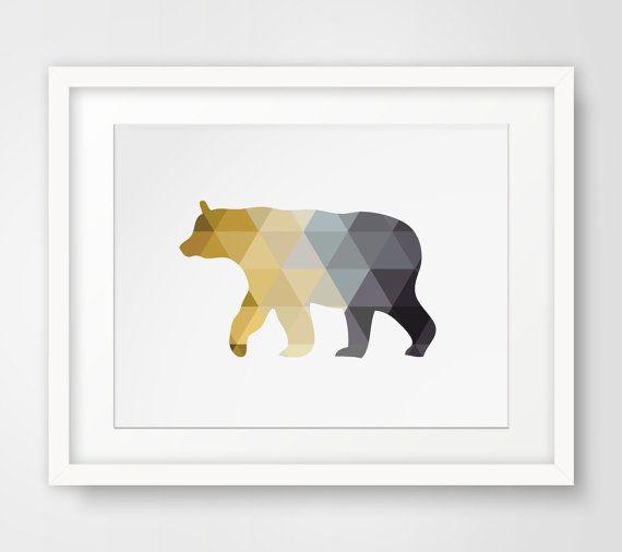 Bear Printable Mustard Yellow Art Bear by MelindaWoodDesigns #homedecor