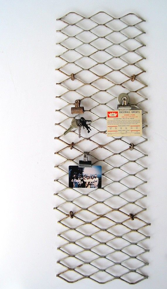 wire mesh for hanging itemsDecor, Ideas, Pin Boards, Chicken Wire, Metals Grateful, Memo Boards, Diy, Vintage Industrial, Display Boards
