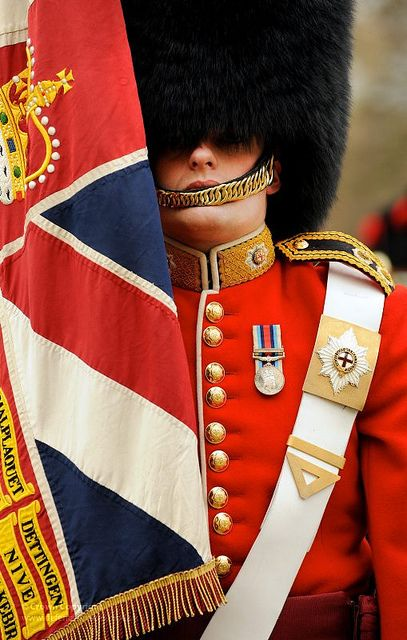 Soldier from No7 Company Coldstream Guards With Regimental Colours by Defence Images, via Flickr