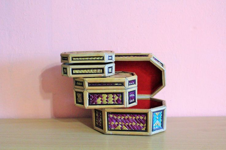 Vintage Wooden Box Set Of 3, Philippines Box, Jewelry Holder, Ring Dish, Jewelry Wood Storage by Grandchildattic on Etsy