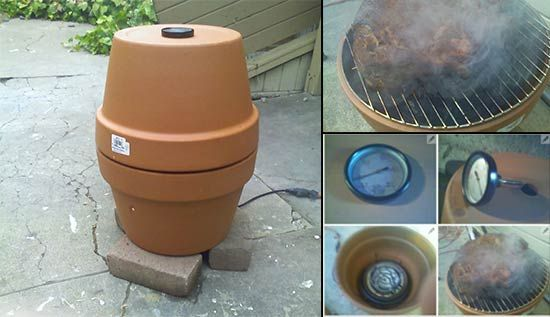 this is a slow cooking smoker. the process takes an overnight soak and most of next day cooking but it is cheap and works better than some hundred dollar versions