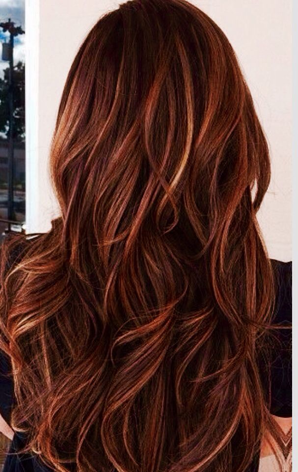 Red auburn hair with caramel highlights