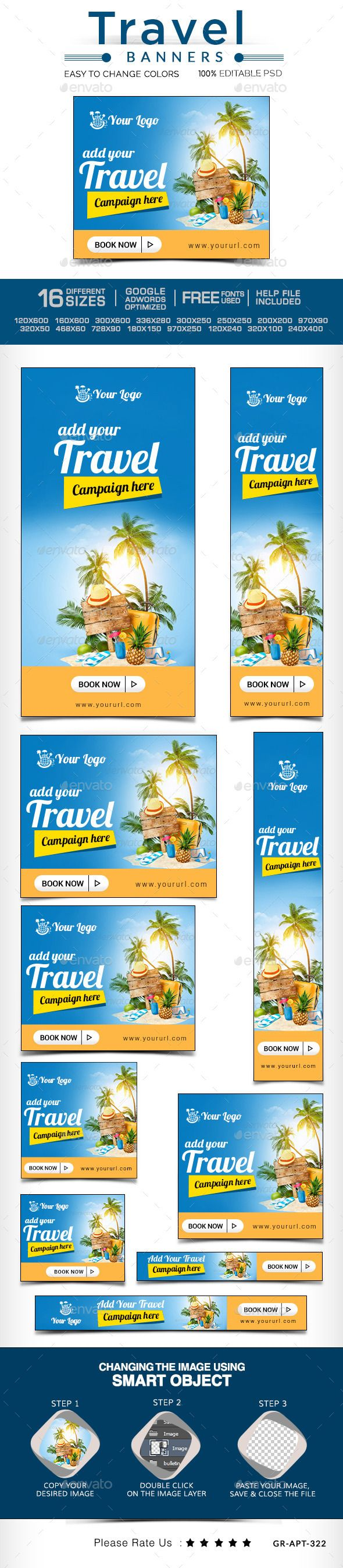 Travel Banners | Download: http://graphicriver.net/item/travel-banners/10247910?ref=ksioks